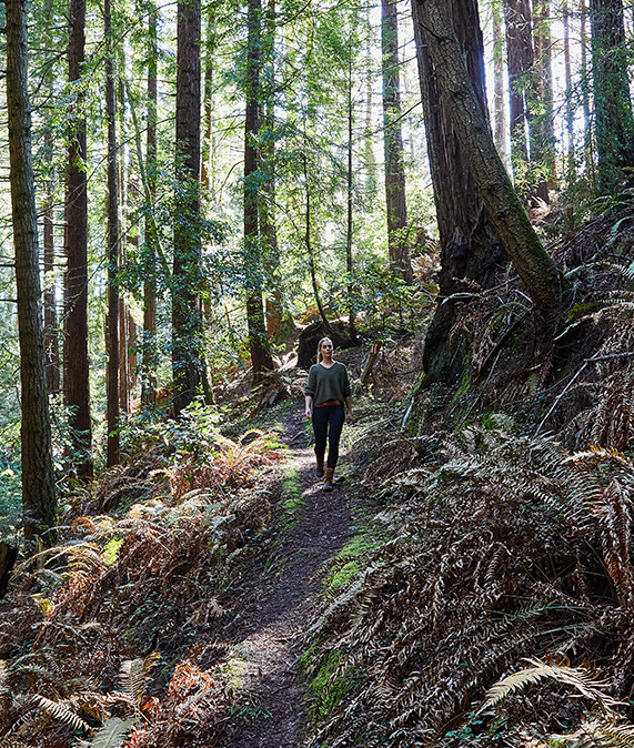 Woman hiking the forests of Mendocino