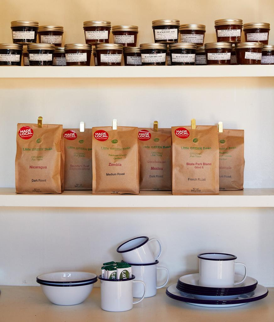 An arrangement of local coffee and jam