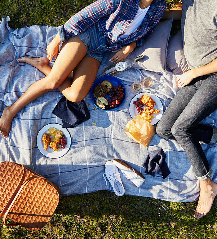 Young couple enjoys outdoor picnic
